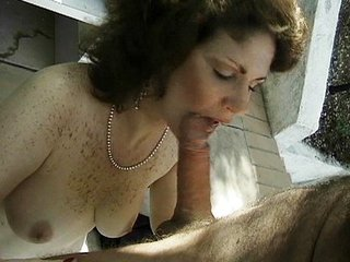 Mature action outdoors